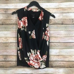 a new day Faux Wrap Sleeveless Floral Top